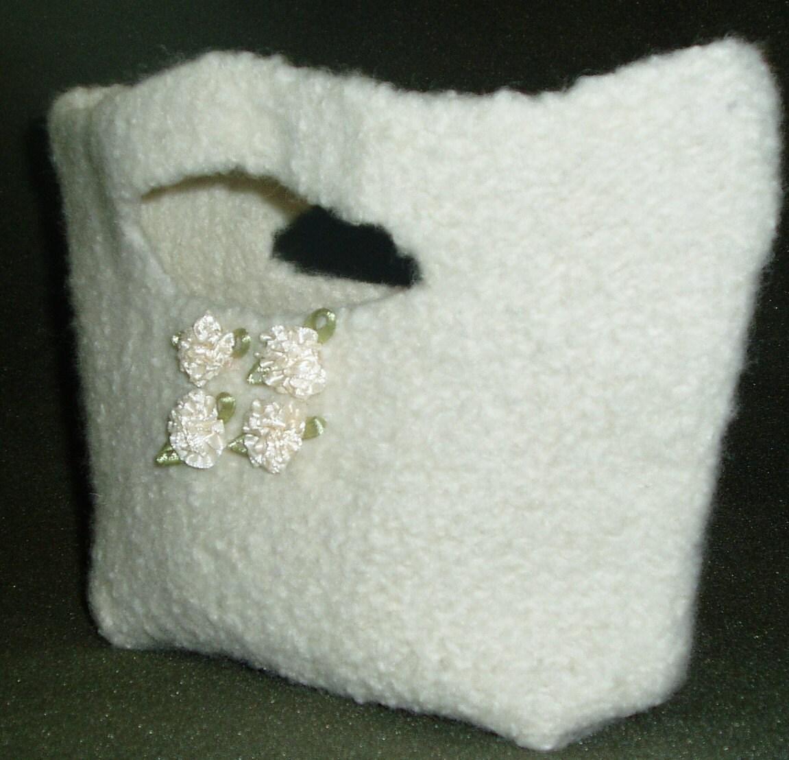 Felted White Handbag