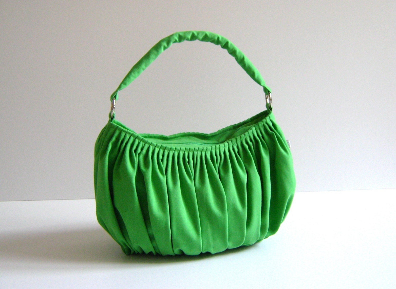 NEW Bella in Apple Green --the drapery bag, so chic, large and elegant everyday purse with zippered closure and single strap--