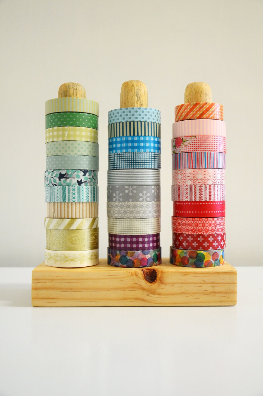 Washi Tape Organizer - Wood Masking Tape Holder - Eco friendly Japanese Tape Dispenser for 30 rolls - coworkers gift
