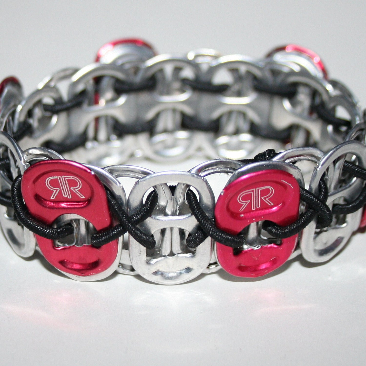 rock black stretchy pop can tab bracelet by eclectickel