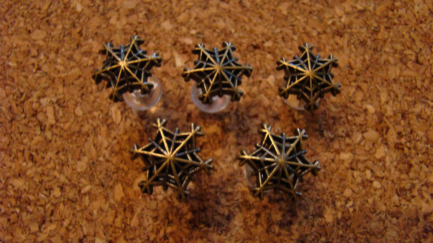 Vintage Bronze Snowflake Button Push Pin Small