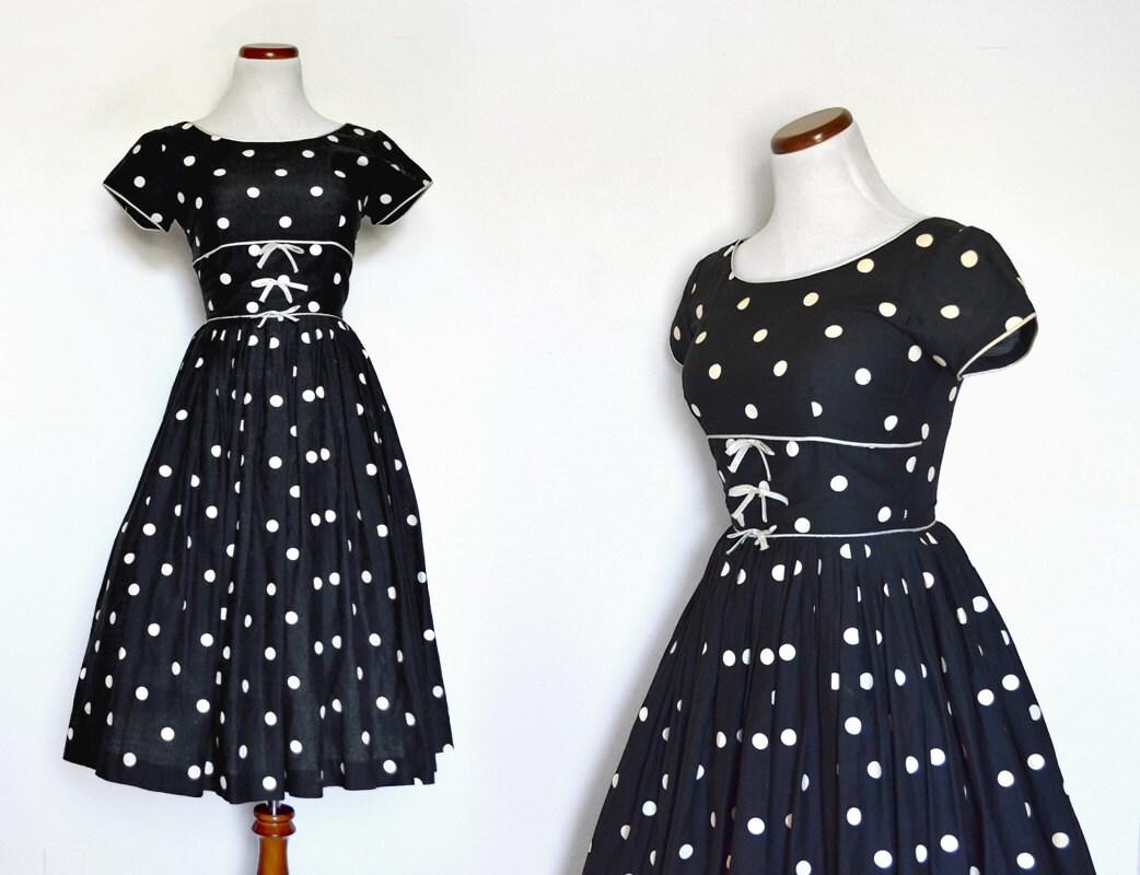 Polka Dot  Dress 1950 Dress 50 Dress Black Dress  Small Dress  50s Party  Little Black Dress  Women Clothing Dress  Vintage Clothing Dress