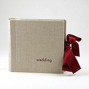 Ecru Linen Wedding Album with Burgundy Satin Ribbon
