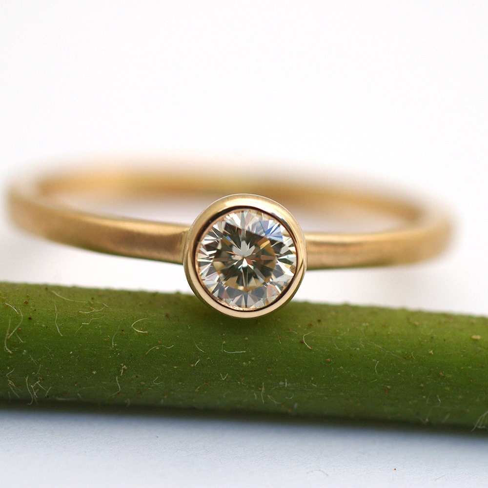 Simple Diamond Engagement Ring by KyleAnneMetals on Etsy