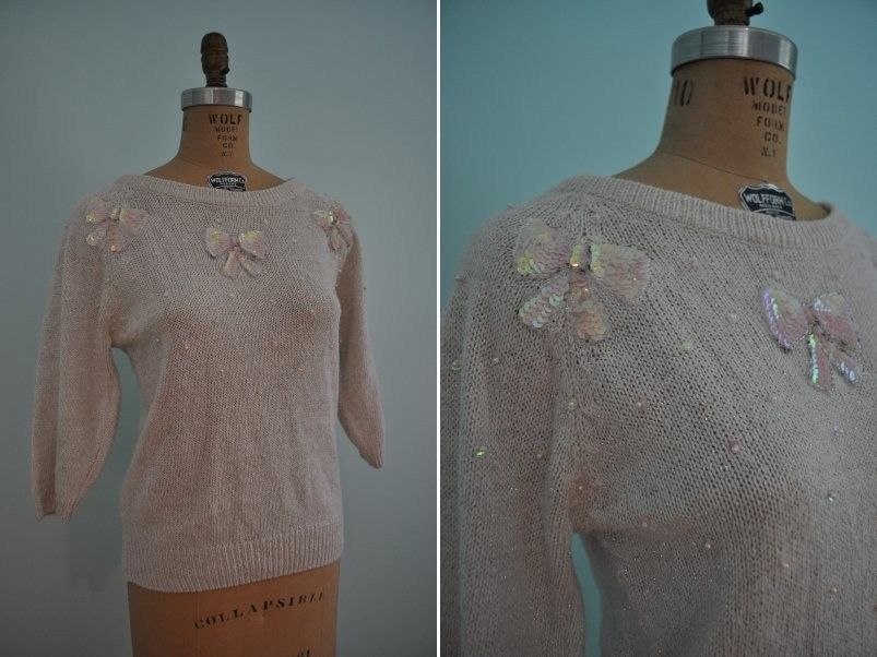 metallic pearl sequin 80s pink bow sweater M