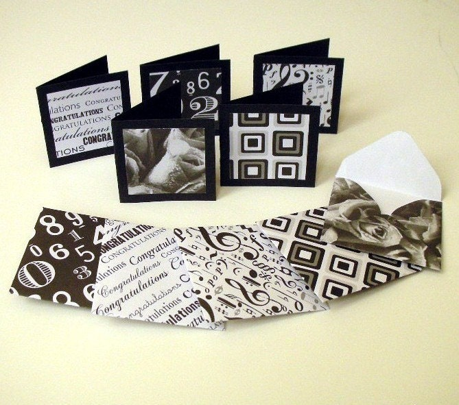 5 Gift Cards - Black and White