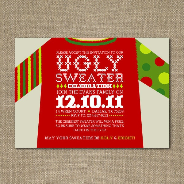 Ugly Sweater Christmas Party Invitations is one of our best ideas you might choose for invitation design
