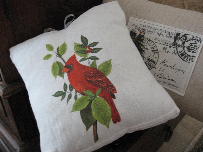 Cardinal In Branches Flour Sack Pillow