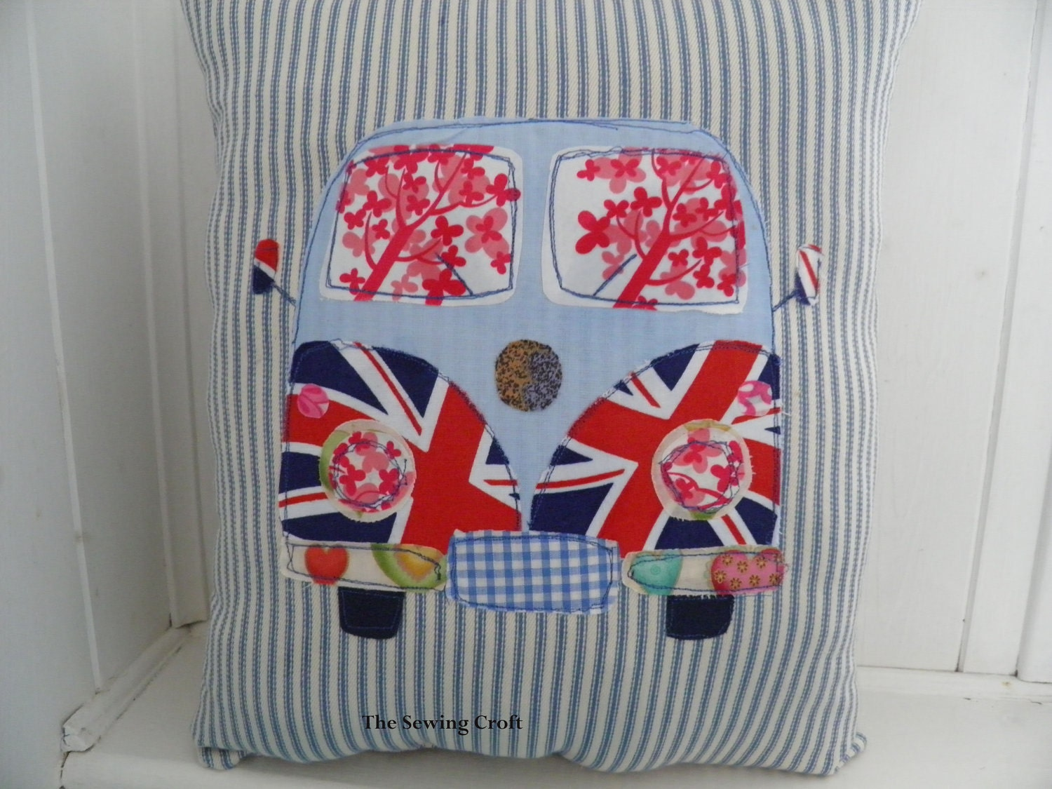 VW Campervan Union Jack British Sketch Applique pillow cushion