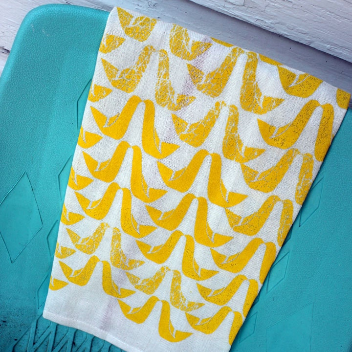 Yellow Partridges Screen-Printed Dishtowels-set of 2