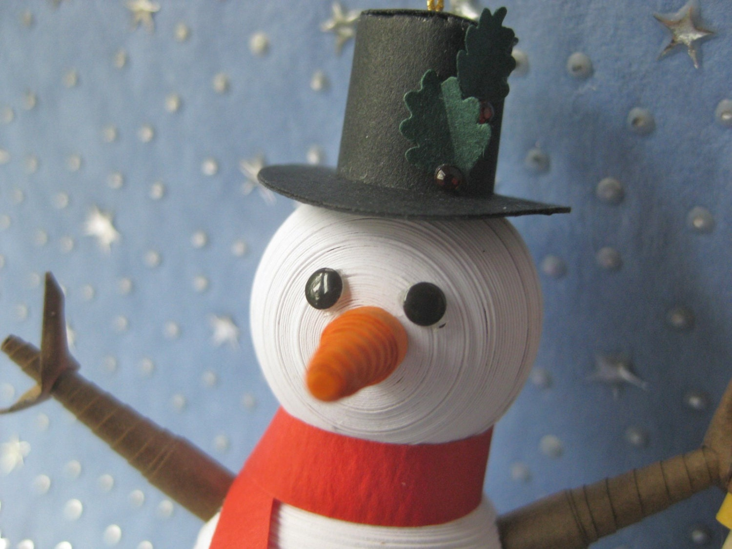 Miniature Snowman quilled ornament