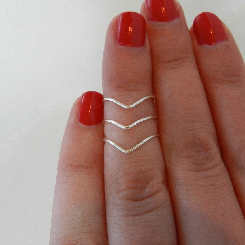Silver Knuckle Rings Mid Finger Rings Midi by YoursNMineDesign