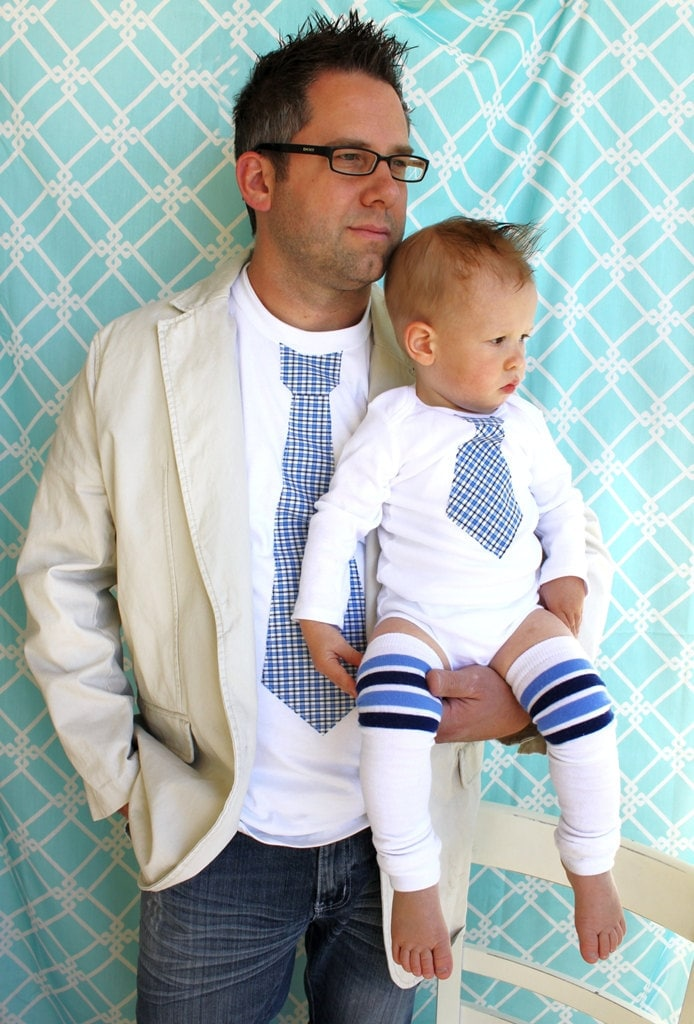 NEW Father's Day Set of 2 Tie Shirts for Daddy and Son.  Any Size Onesie and Any Size T-Shirt.  Any Tie.