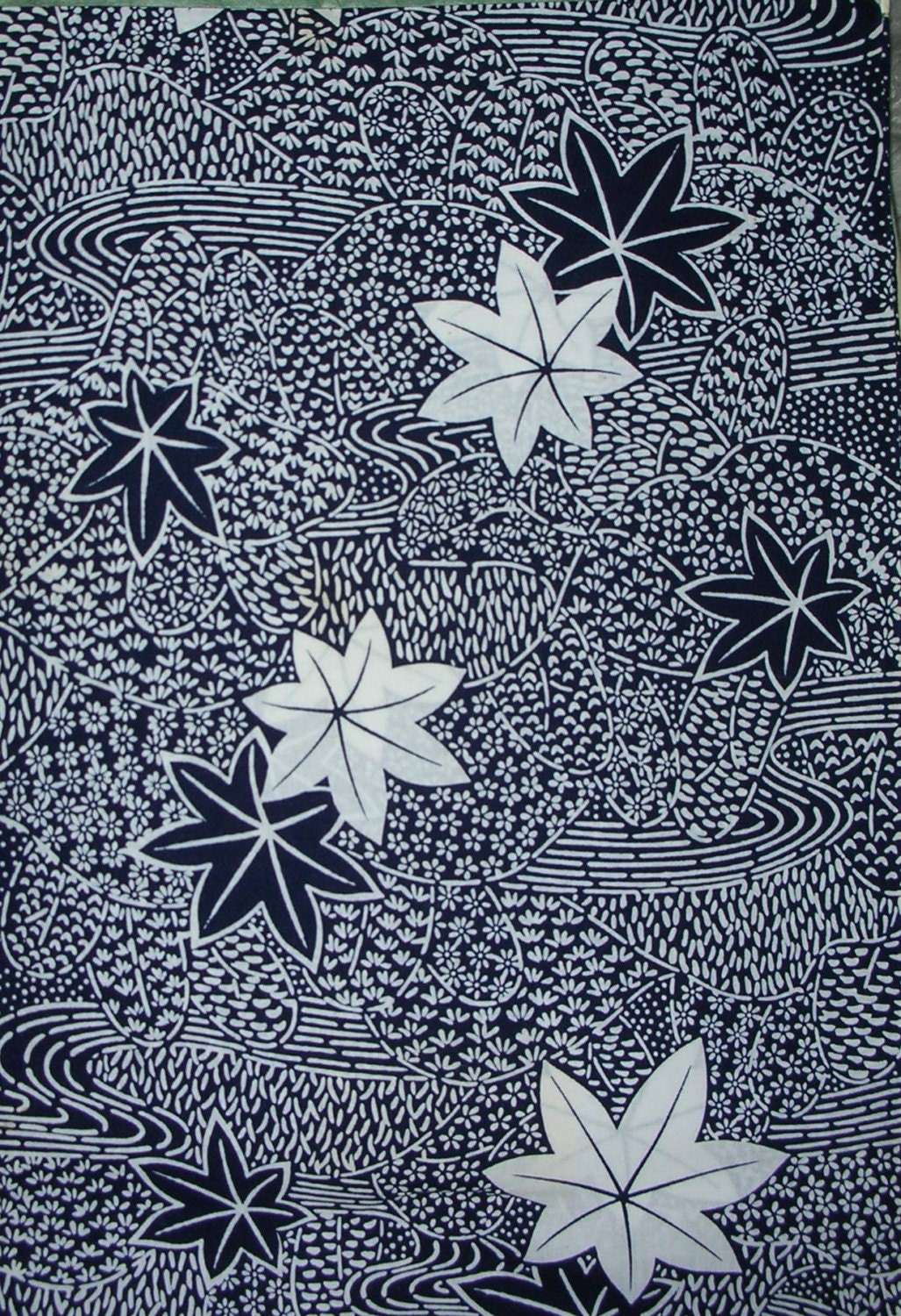 Vintage Kimono Cotton - Packed Floral with Maple Leaves   10 percent OFF SALE on all Kimono silk, wool and Yukata cotton fabrics     Ends October 3