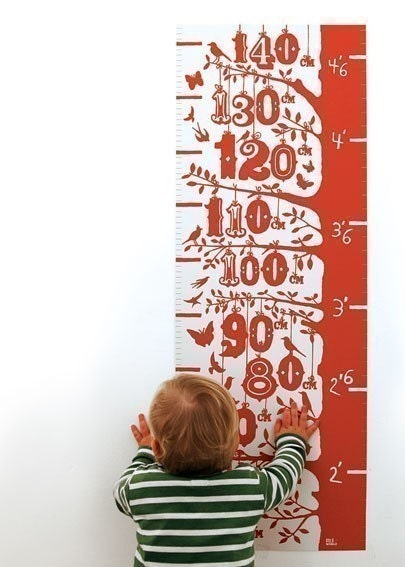 Height growth chart, hand pulled screen print onto 100 percent recycled card, poppy red (also in azure blue)