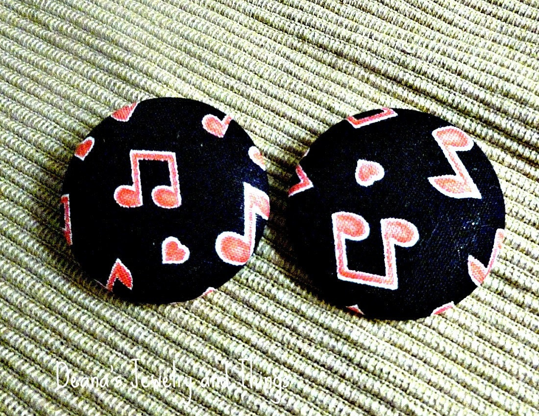 Musical Notes Fabric Button Earrings 1 1/2""