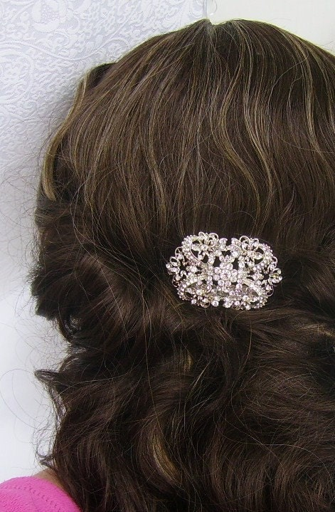 Vintage Inspired Art Deco Rhinestone Hair Comb by Romancing the Bling