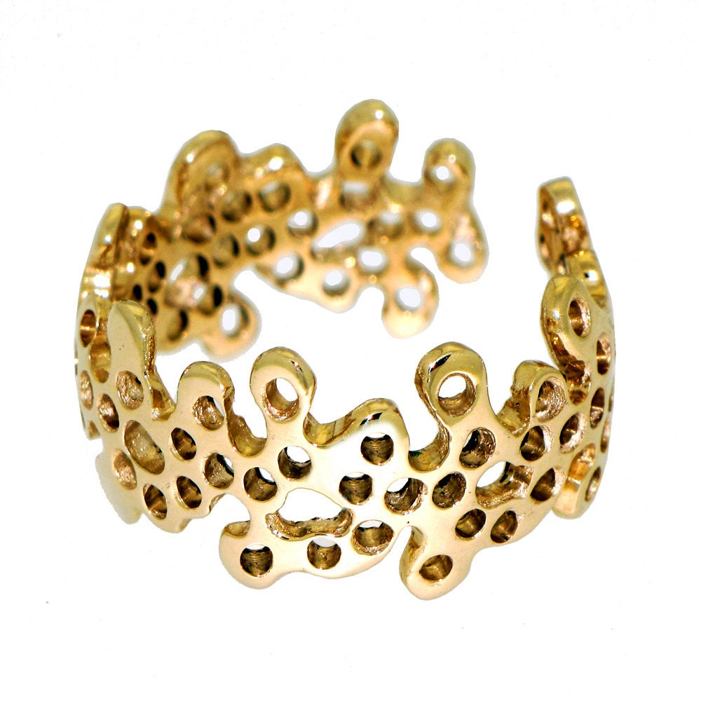 Beehives Adjustable Gold Ring Lace Modern Contemporary jewelry