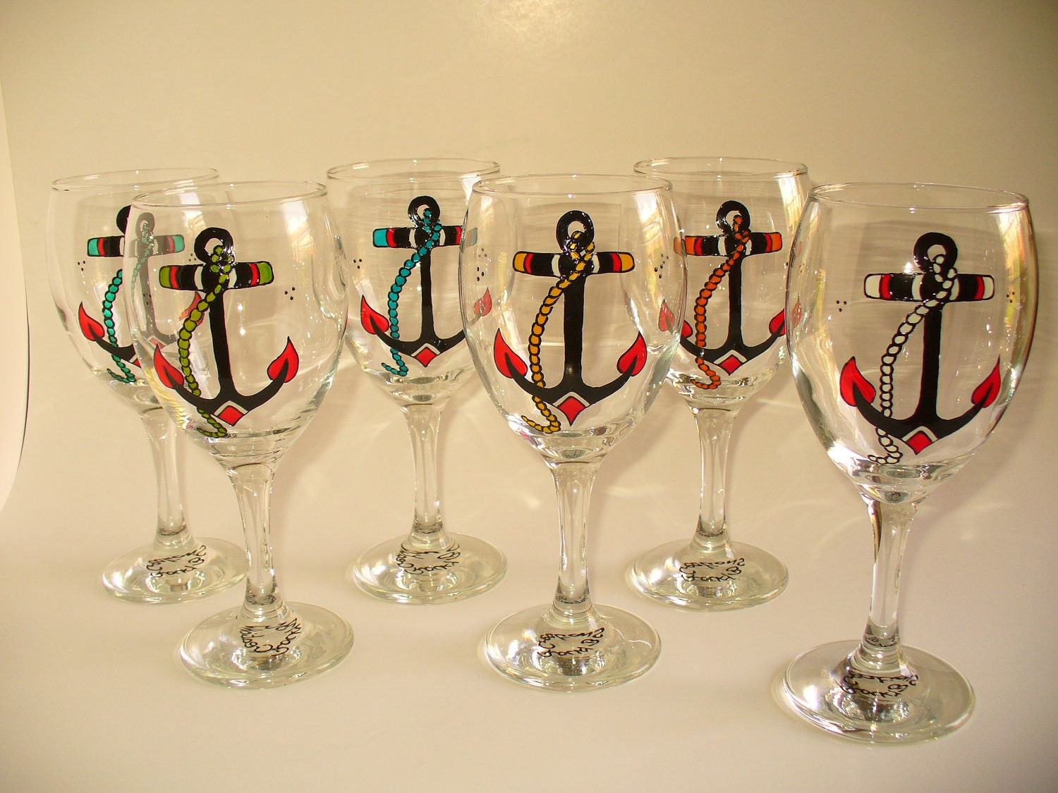 Hand painted wine glasses anchor design kit of by for Hand designed wine glasses