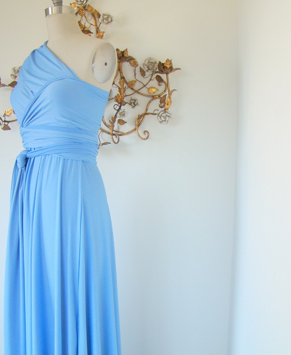 Alice Blue Long Convertible Wrap Gown