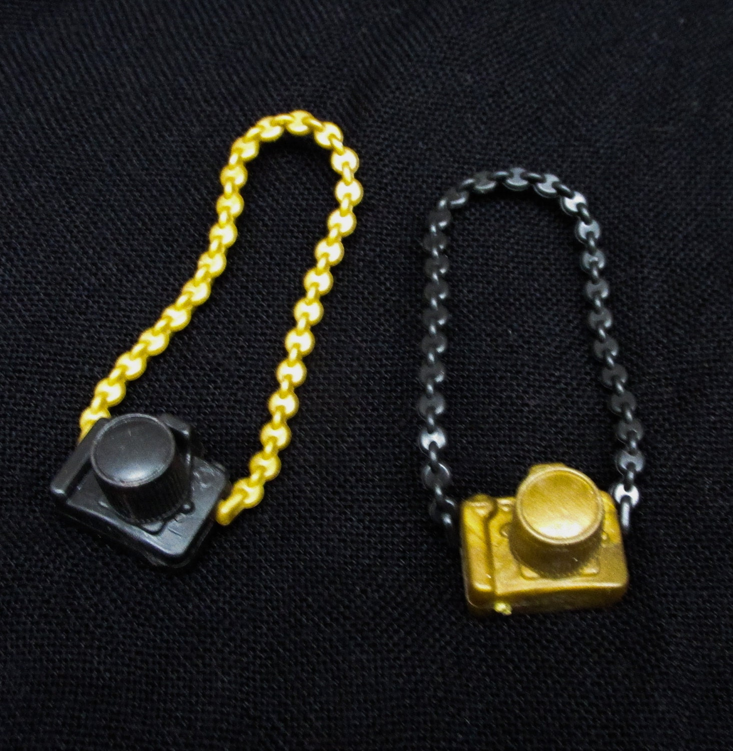 Miniature Black or Gold Doll Camera  Plastic Dolls House Accessory