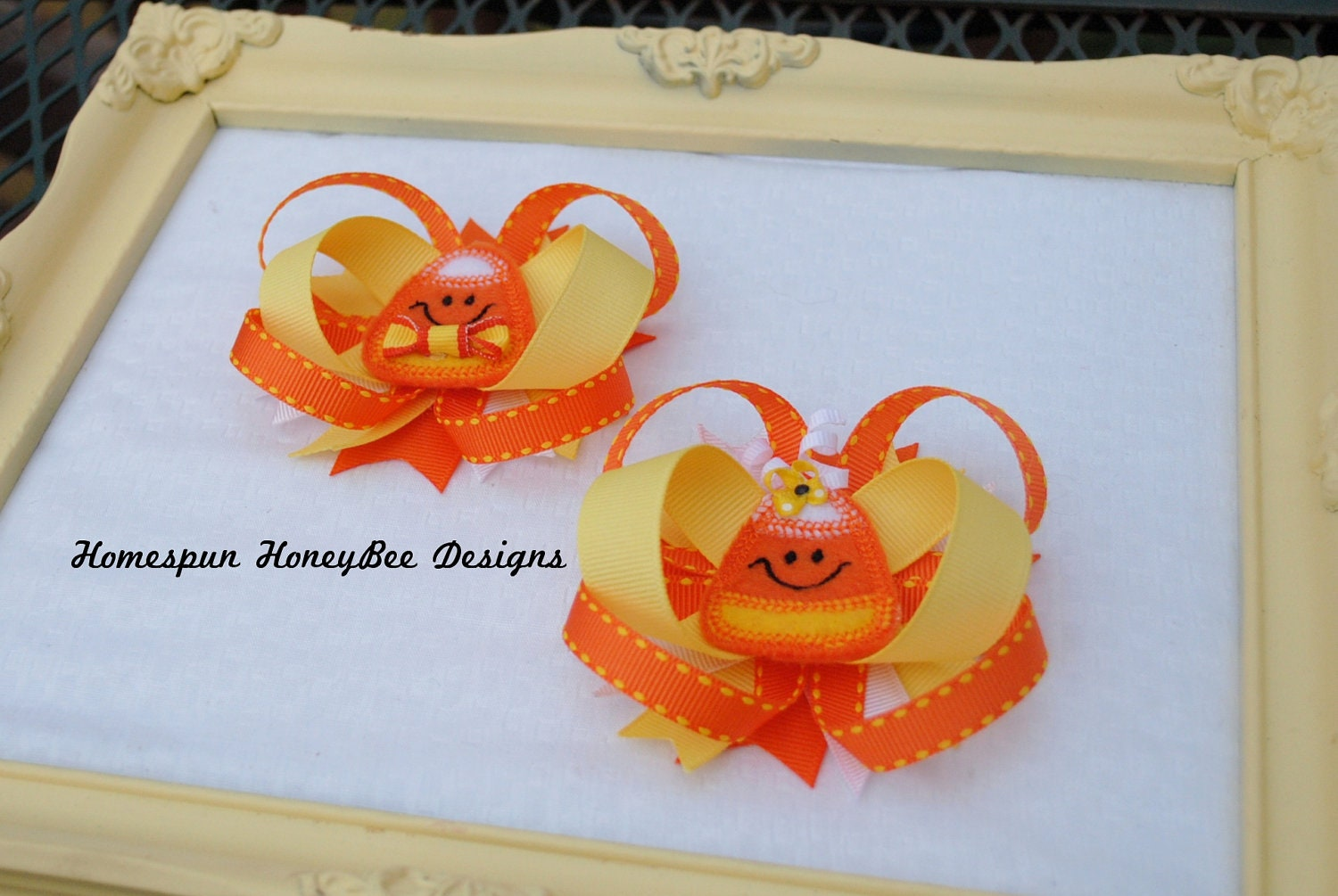 Mr and Mrs Candy Corn Clippies...Fall Loopy Bows...Halloween Hairbow Set...Trick or Treat Hair Bows...Pigtail Hairbows...Candy Corn Cutie - HomespunHoneyBee
