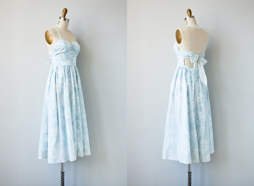 vintage 1980s dress / vintage 50s style open back sundress / vintage halter dress