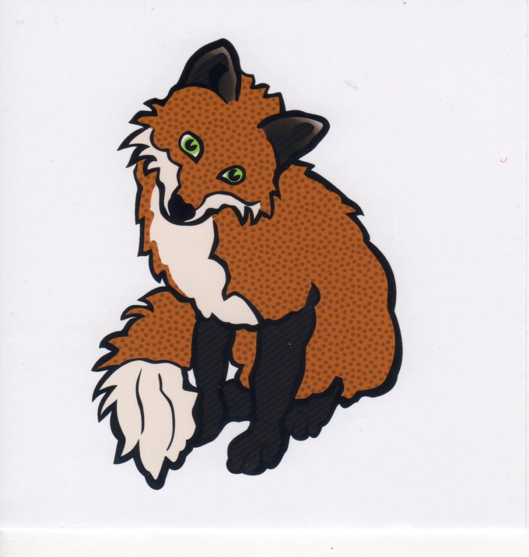 FOXY FOX Vinyl Sticker Laptop Tablet Tile Home Decor Applique Embellishment Patch Brand New