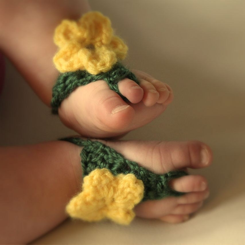 Baby Barefoot Sandals-Crochet Flower Sandals-Green and Yellow Barefoot Sandals