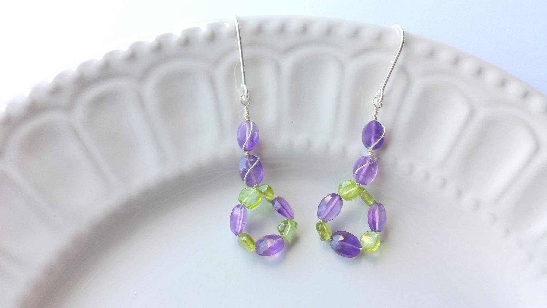 Amethyst and Peridot earrings Purple earrings Green earrings Amethyst earrings Gemstone earrings February Birthstone August Birthstone
