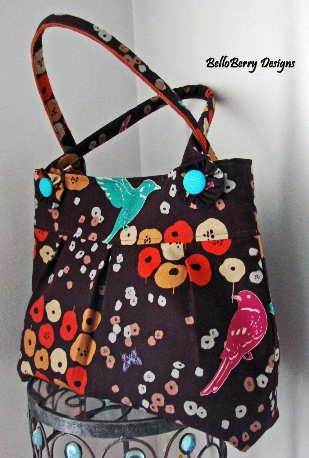 Large Birds and Flowers in Brown - Medium Pleated Bag with 2 Strap Handles and Covered Buttons