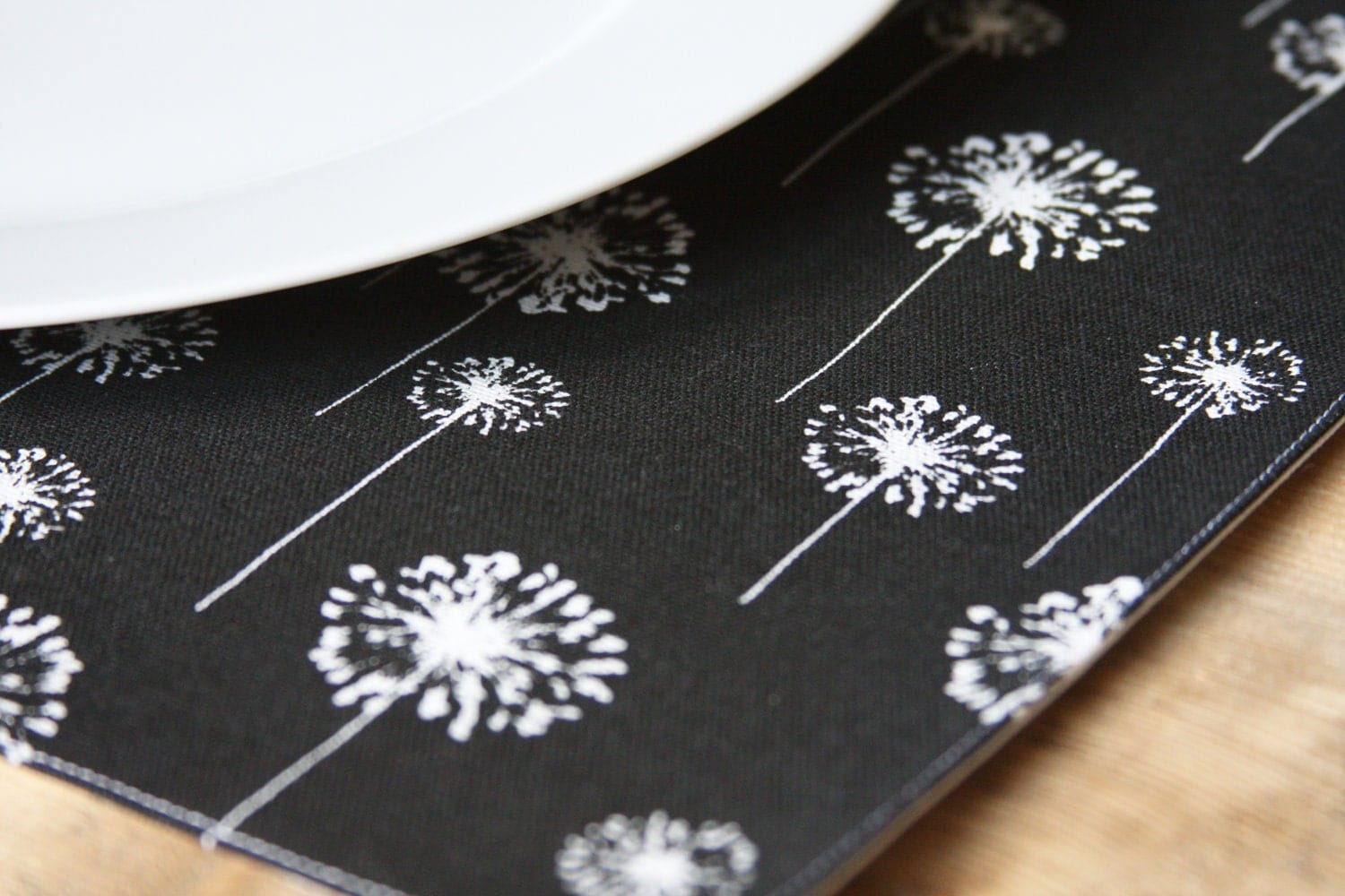 Placemats - White Dandelions on Black - Set of 2
