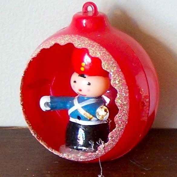 Vintage Christmas ornaments in their original box - drummer boy nutcracker