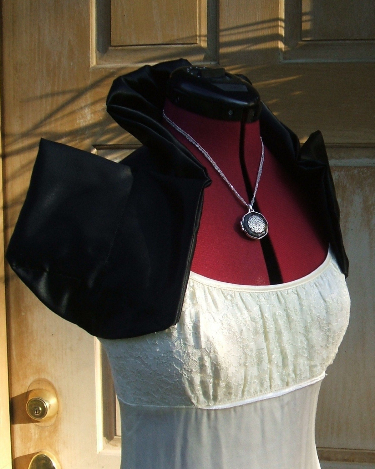 Obsidian Black Gothic Victorian Inspired Baroque Satin Shoulder Wrap