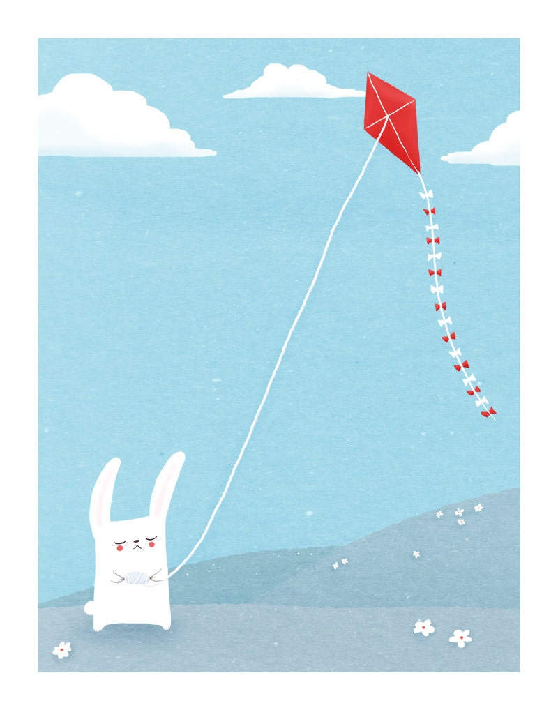 bunny nursery art. blue, white red. rabbit flies a kite. 8.5 x 11 art print for kids / baby
