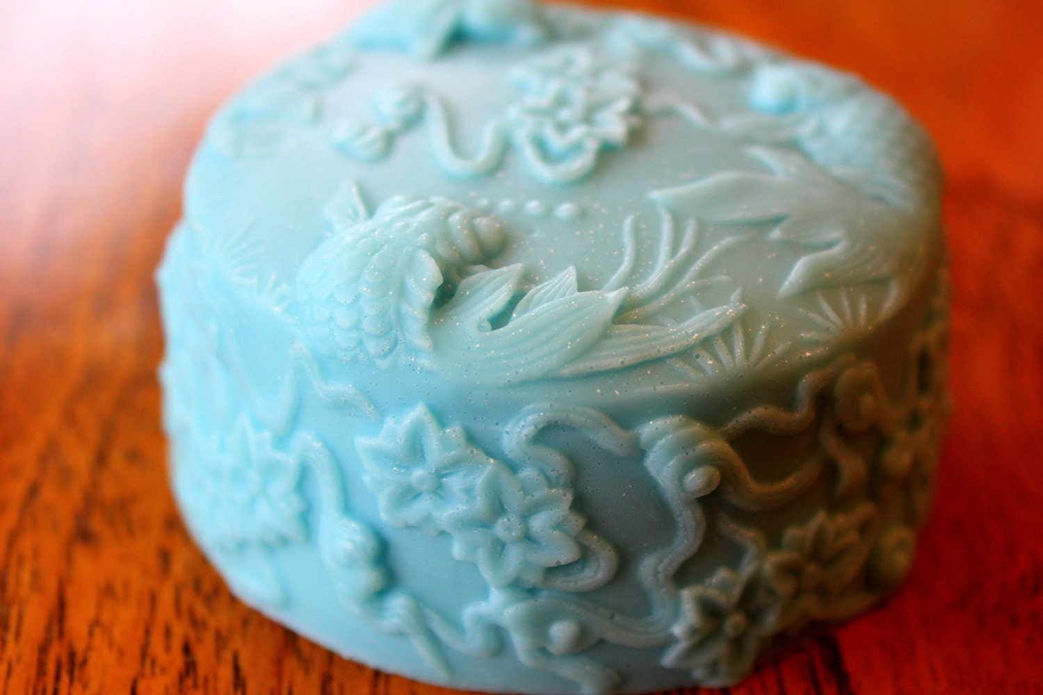 Cute Aqua Koi Fish Water Garden Pond Margarita Scented Shea Butter Big Soap Bar 5.5 oz Vegan