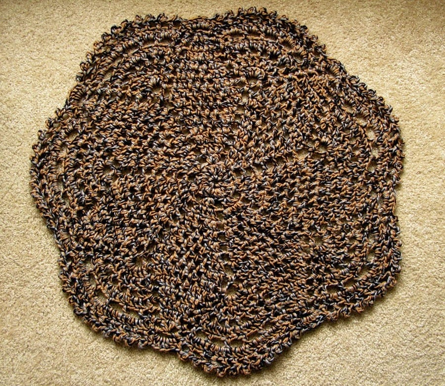 Brown Doily Style Crocheted Rug