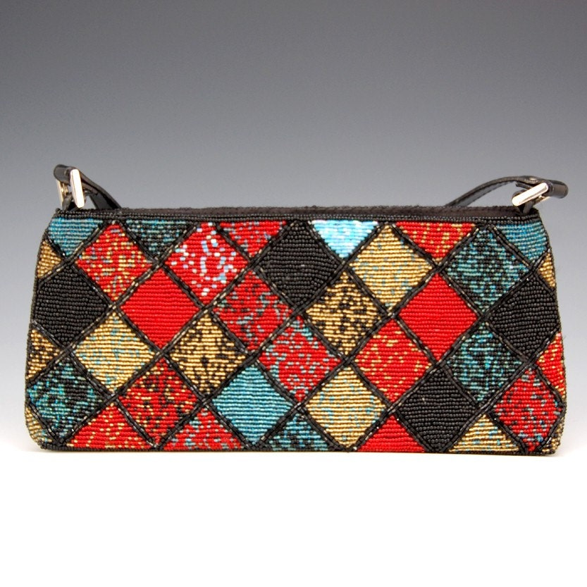 Vintage Black, Red and Blue Argyle Beaded Handbag - 1554