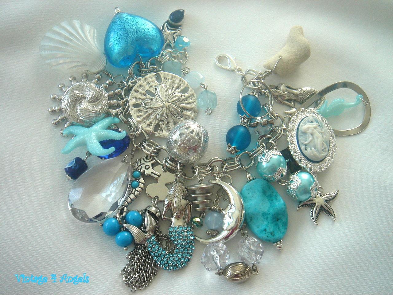 vintage mermaid charm bracelet swarovski coral by