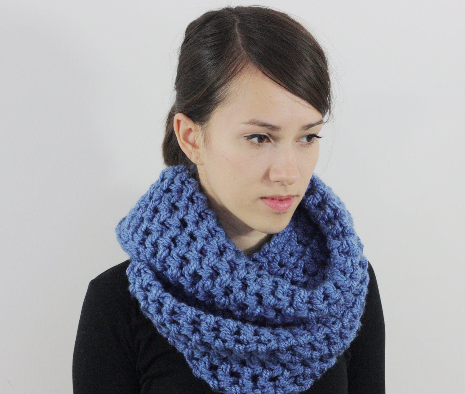 Infinity Scarf Chunky Cowl Neck Scarf for Mens Denim Blue Autumn  Cowl Neck Scarves Men
