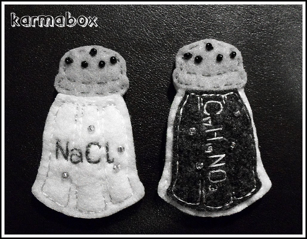 Items similar to salt and pepper shakers of science hair clips felt fuzzies on etsy - Chemistry salt and pepper shakers ...
