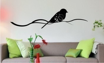 Bird with Leaves on Tree Branch - Vinyl Wall Art Decal Sticker Graphic