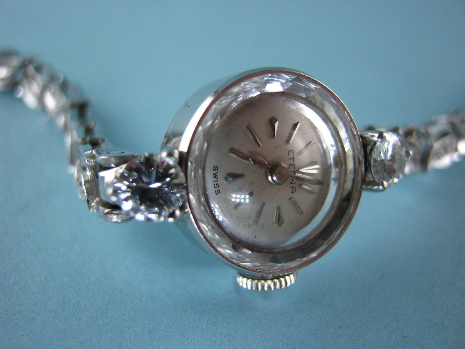 14k White Gold Ladies Eterna Watch with Large Diamonds