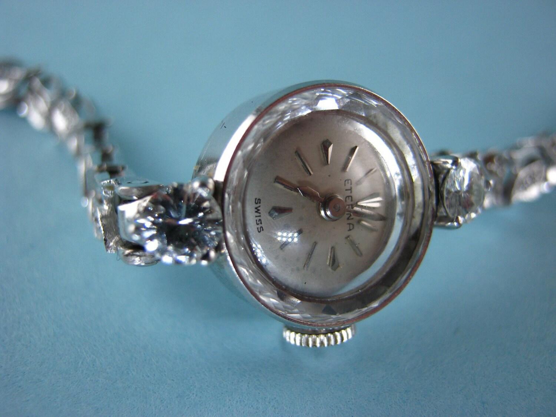 14k White Gold Ladies Eterna Watch with Large Diamonds
