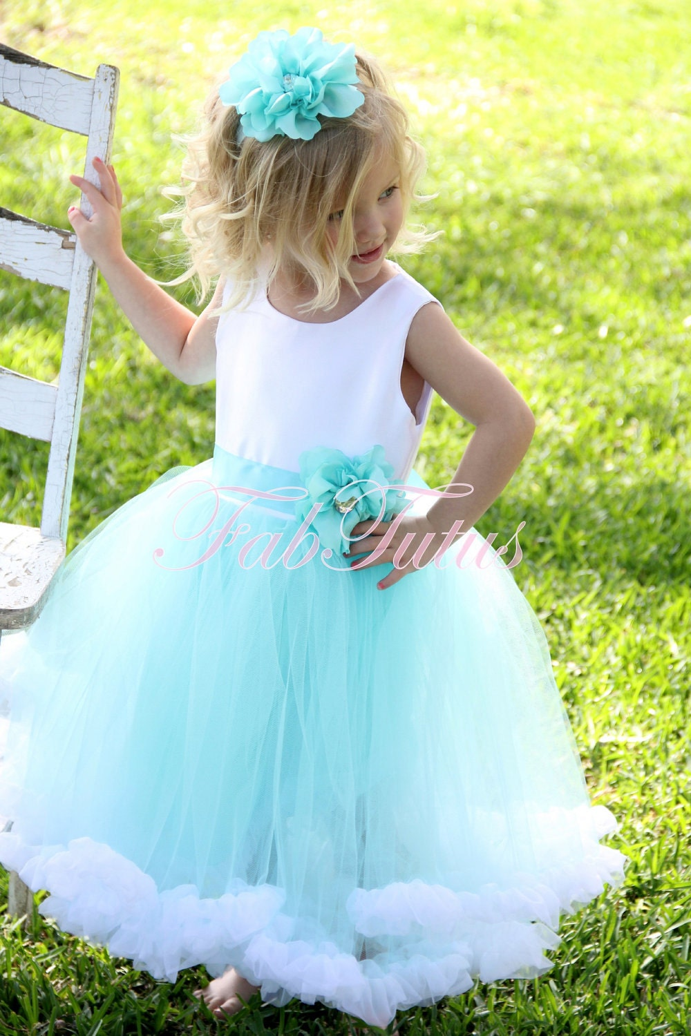 Couture Tiffany Blue flower girl tutu dress with chiffon ruffle and handmade flower pin by FabTutus