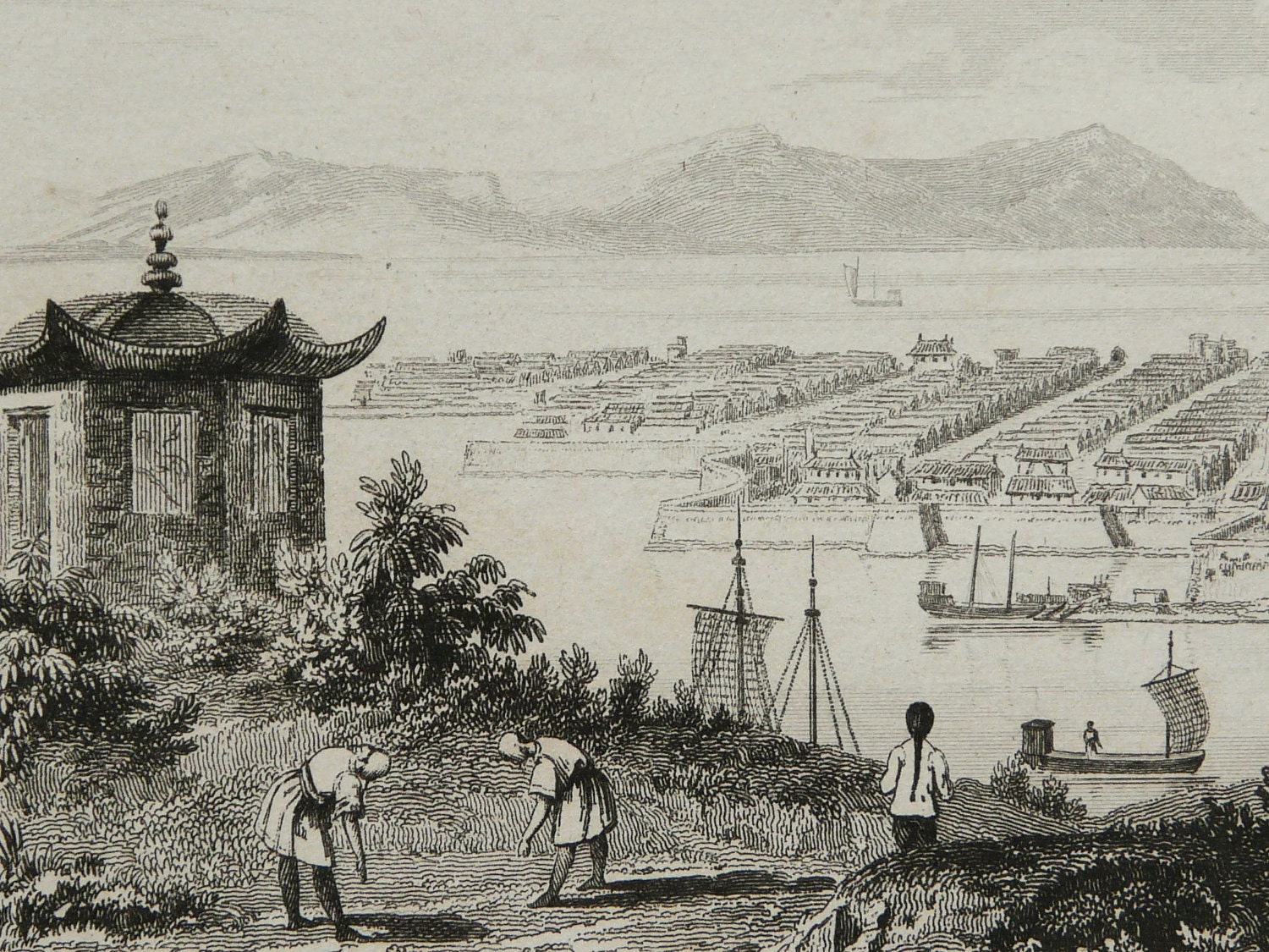1837 Antique engraving: VIEW of HANGZHOU, CHINA, Yangtze River, Zhejiang. 176 years old copper engraving