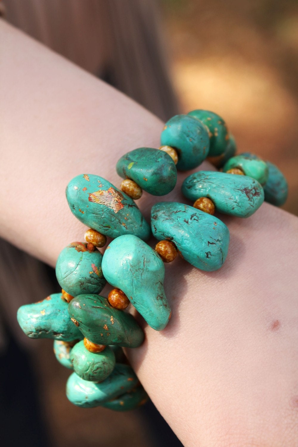 Tickle Me Turquoise Clay Bead Leather Bracelet