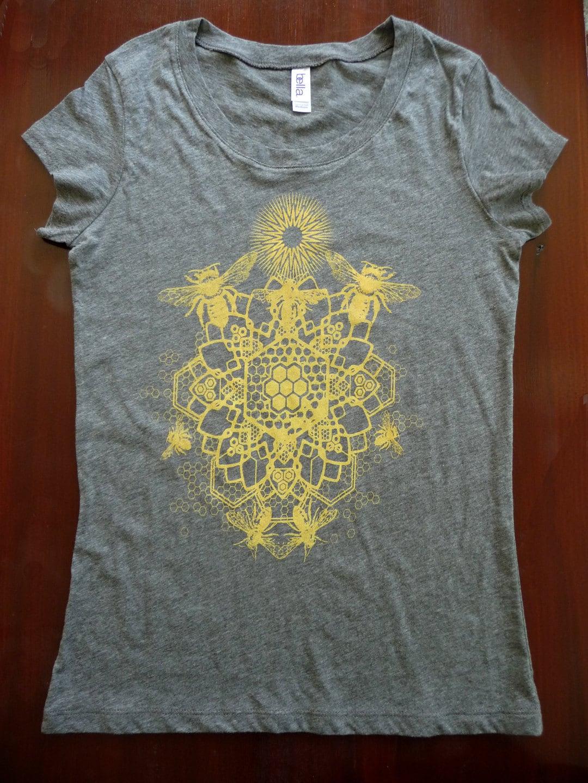 WOMEN'S Bee Mandala Printed in Honey Yellow on a Gray Bella Soft 100% Cotton Slim Fit Screen Printed T-Shirt