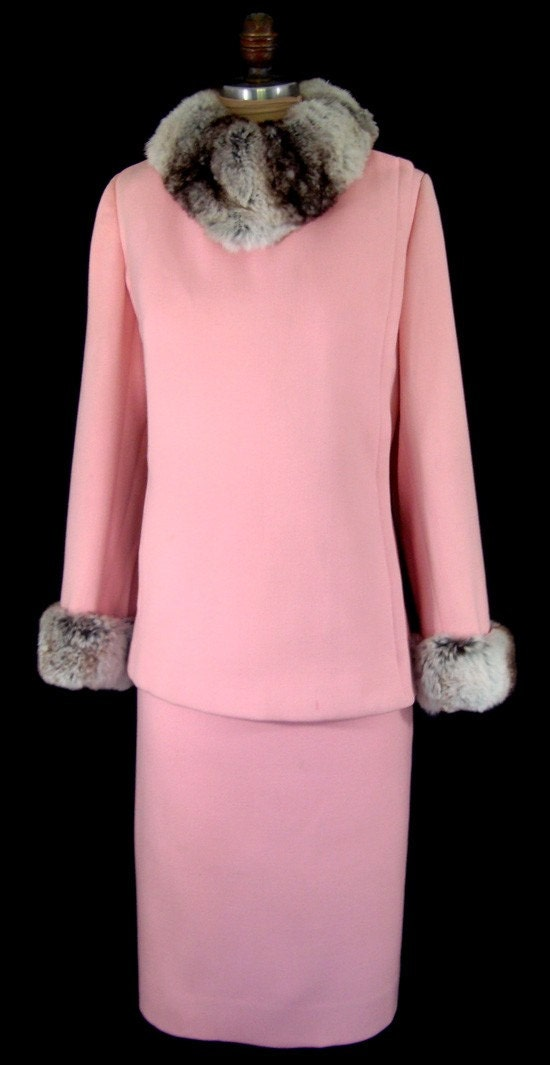 Vintage 1960s Pink Wool Suit with Chinchilla Fur Trim