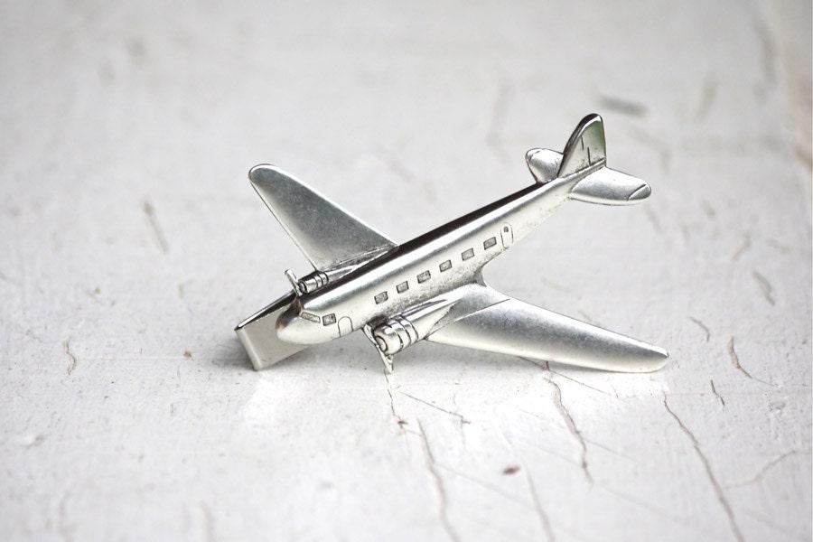 silver airplane tie clip alligator bar industrial by stjoshua
